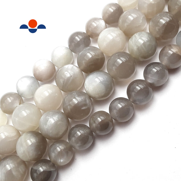 "High Grade Light Gray Moonstone Smooth Round Beads 12mm 15.5"" Strand"