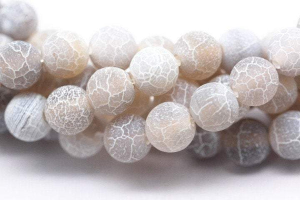 gray fire agate Crackled matte round beads