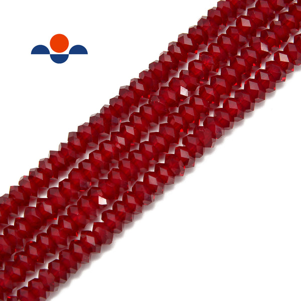 ruby red k crystal glass faceted rondelle beads