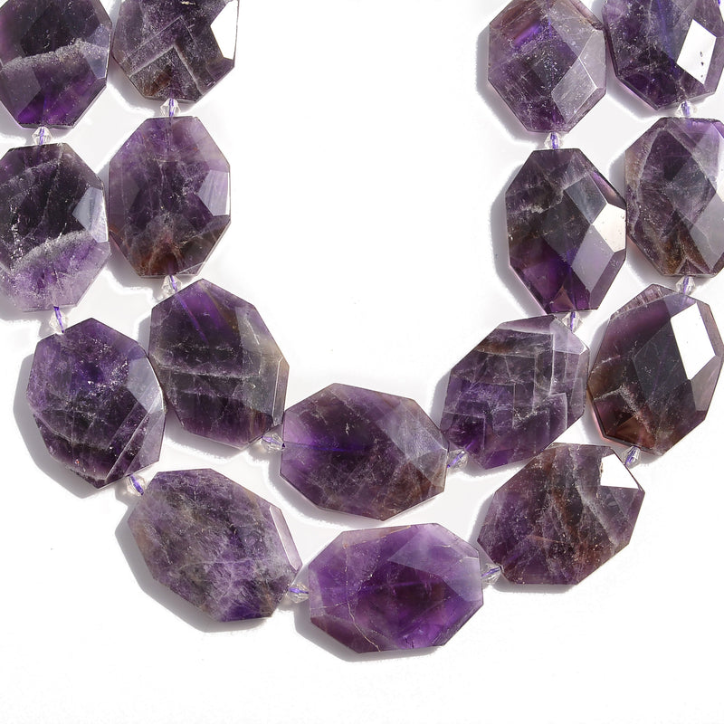"Amethyst Rectangle Slice Faceted Octagon Beads Approx 30x40mm 15.5"" Strand"