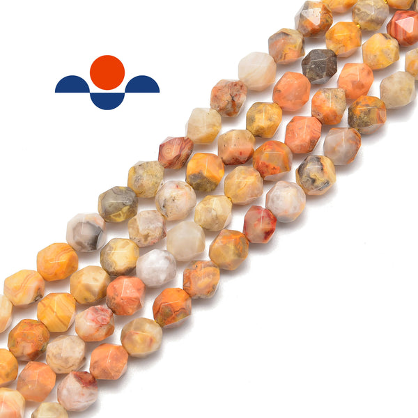 crazy agate faceted star cut beads