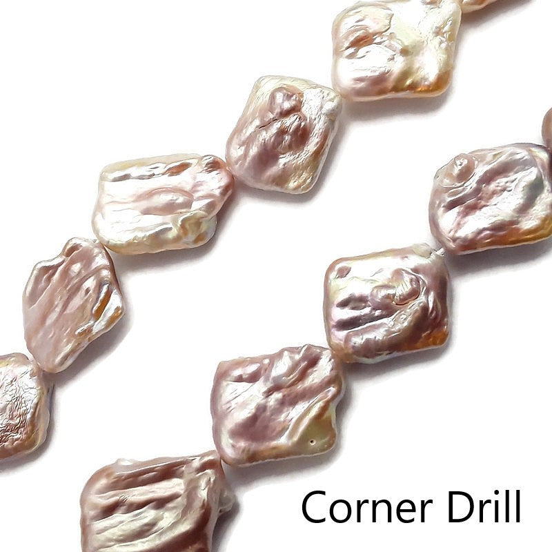 fresh water pearl rectangle shape side corner drill beads