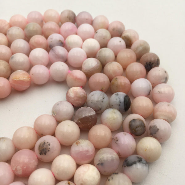 "2.0mm Hole Pink Opal Smooth Round Beads 8mm 10mm 15.5"" Strand"