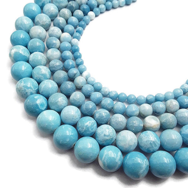 larimar quartz smooth round beads