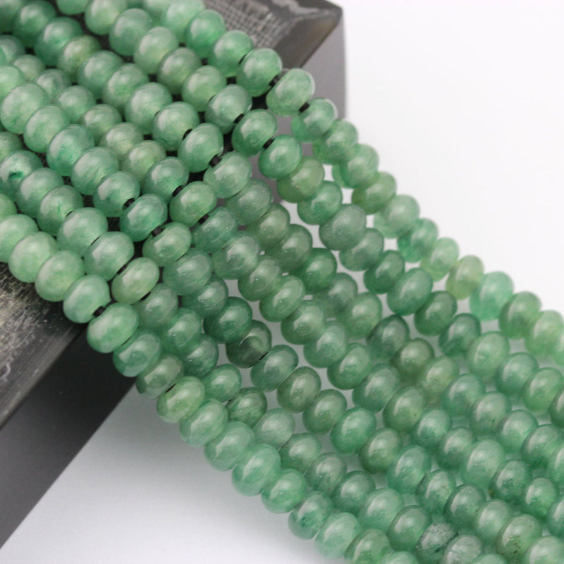 "2.0mm Hole Green Aventurine Smooth Rondelle Beads 5x8mm 6x10mm 8"" Strand"
