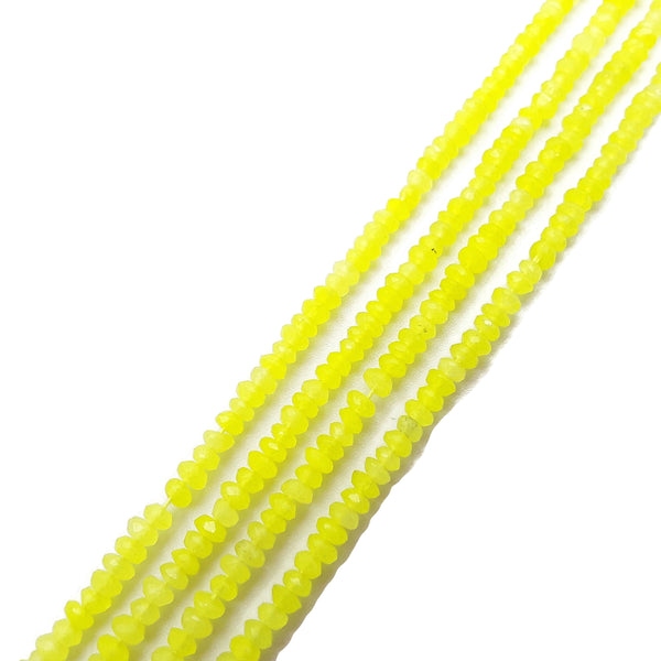 "Lemon Yellow Dyed Jade Faceted Rondelle Beads Size 2x4mm 15.5"" Strand"
