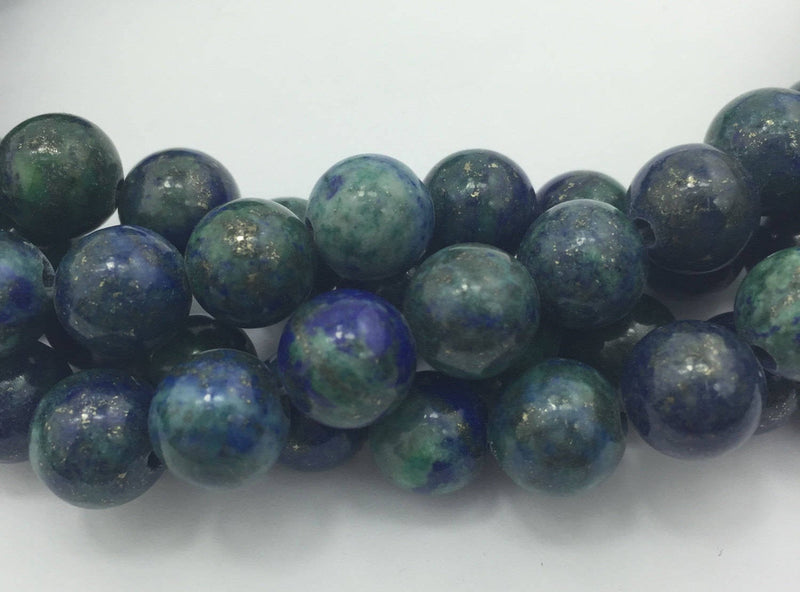 "2.0mm Hole Chrysocolla Smooth Round Beads 6mm 8mm 10mm 15.5"" Strand"