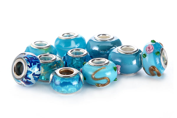 Mix Silver Plate Aquamarine Theme Murano Lampwork European Glass Crystal Beads