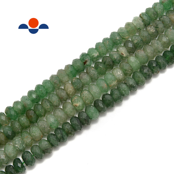 Green Strawberry Quartz Faceted Rondelle Beads Size 6x9mm 15.5'' per Strand