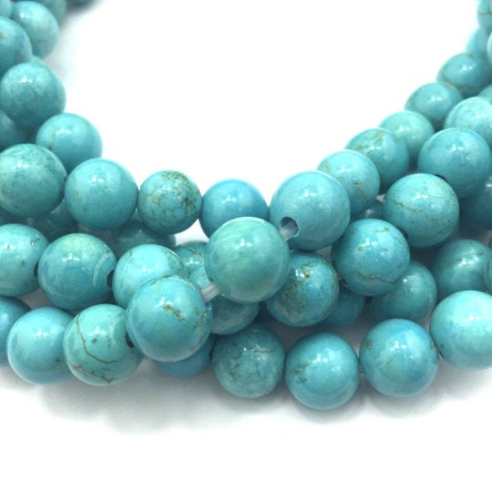 large hole blue turquoise beads smooth round beads