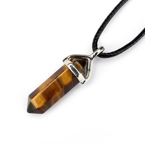 "Yellow Tiger Eye Pendulum Pendant Healing Point Size 40x8mm 18"" Leather Chain"