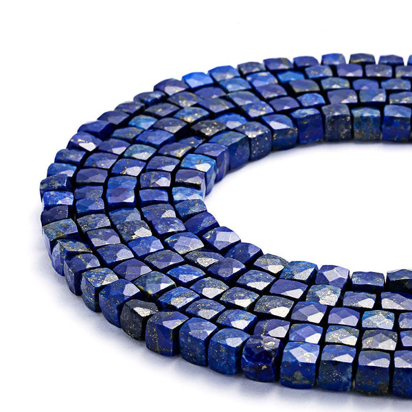lapis lazuli faceted square cube dice beads