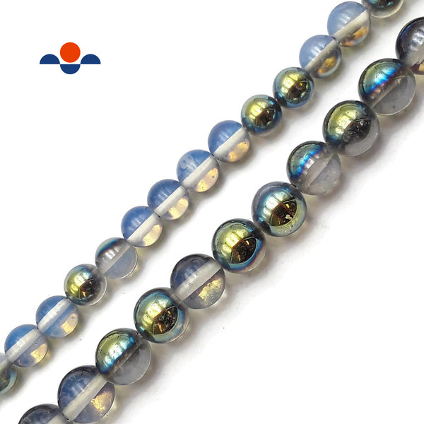 "Light Gold & Blue Coated Opalite Smooth Round Beads 10mm 12mm 15.5"" Strand"
