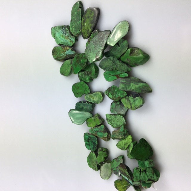 natural green turquoise graduated freeform slab slice beads