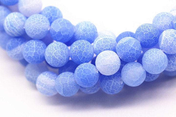 blue fire agate Crackled matte round beads