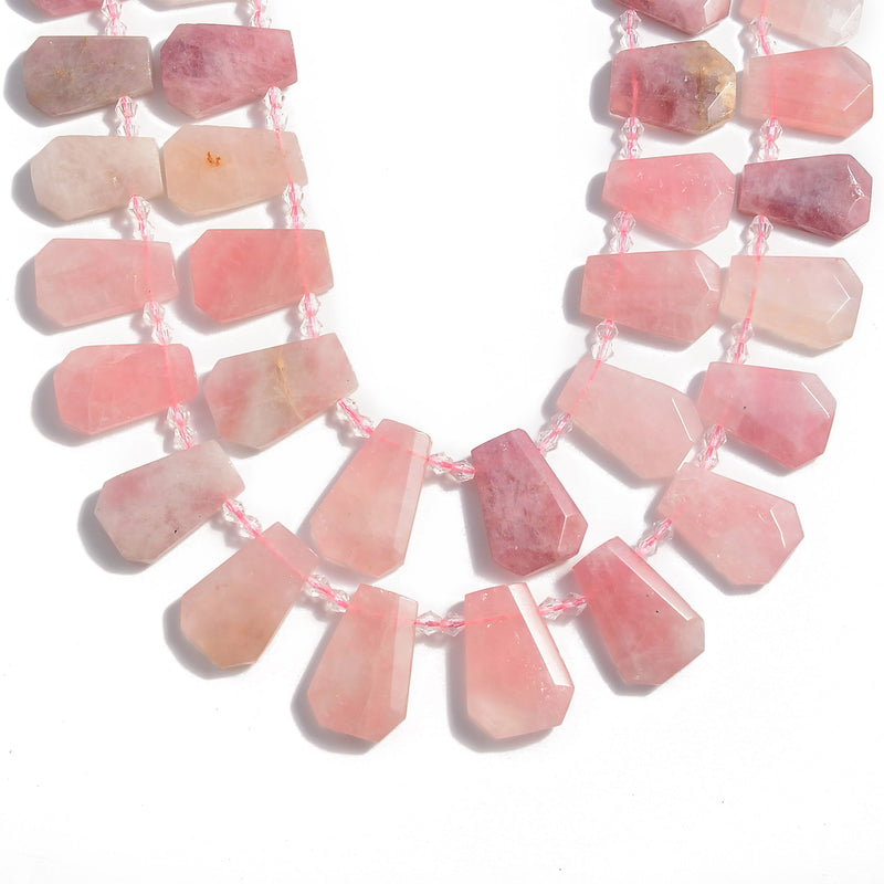 natural rose quartz graduated faceted trapezoid beads