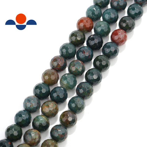 natural bloodstone faceted round beads