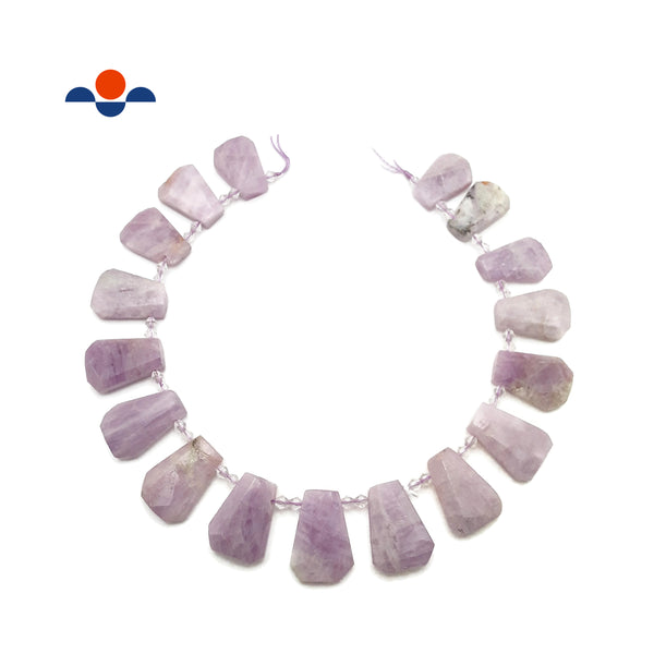 "Kunzite Graduated Faceted Trapezoid Beads 15x20 to 18x27mm 15.5"" Strand"