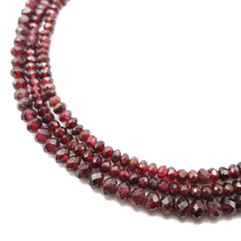 "Natural Red Garnet Faceted Rondelle Beads 2x3mm 2x4mm 3x4mm 15.5"" Strand"