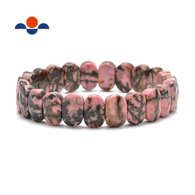 chinese rhodonite faceted oval bracelet bangle