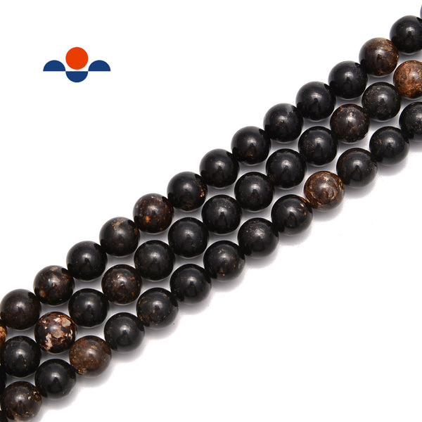 "Natural Biotite Mica Smooth Round Beads Size 6mm 8mm 10mm 15.5"" Strand"