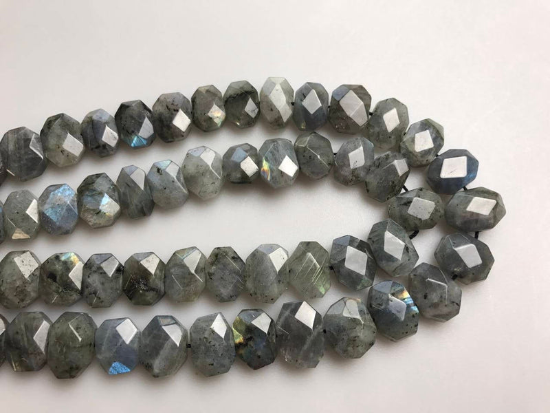 labradorite rectangle slice faceted octagon beads