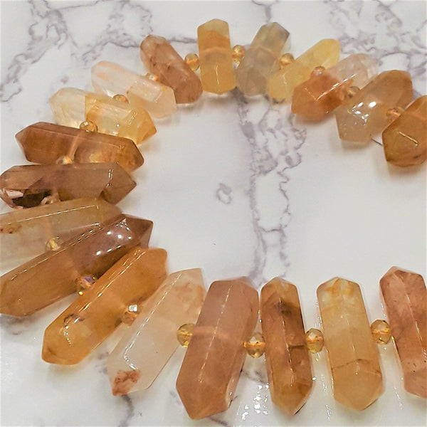 natural citrine graduated center drill faceted points beads