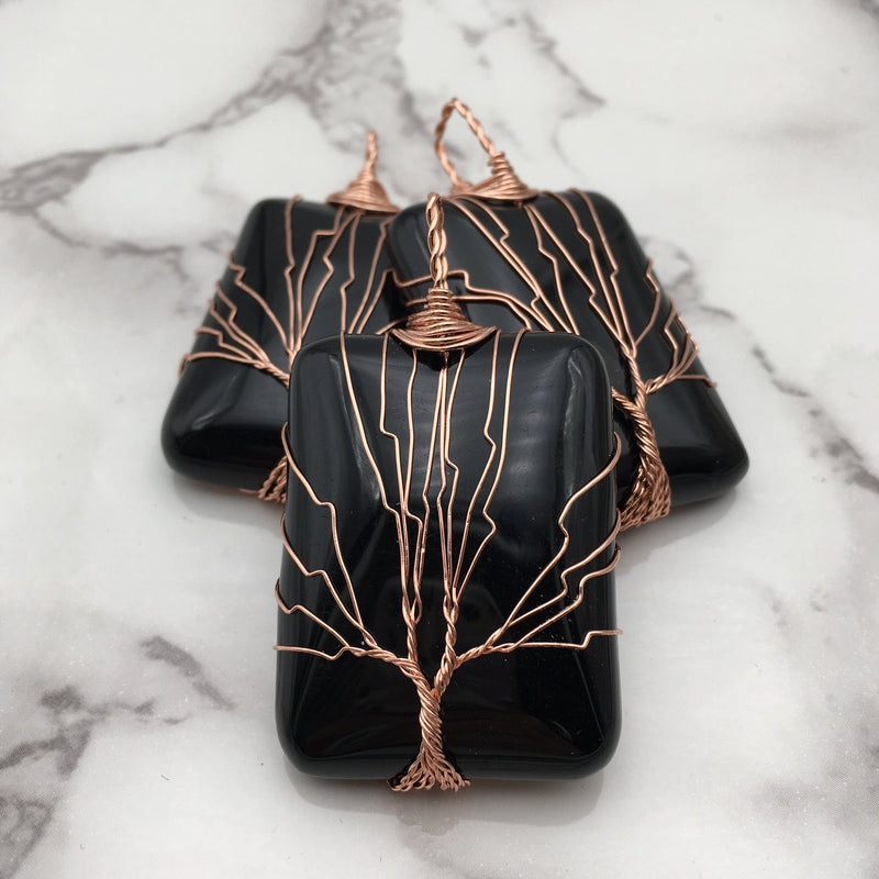 black onyx tree pendant copper wire wrap
