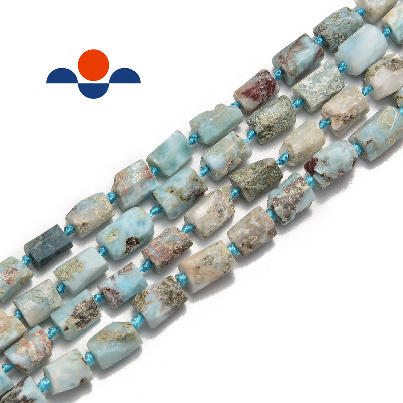natural larimar irregular matte faceted cylinder tube beads