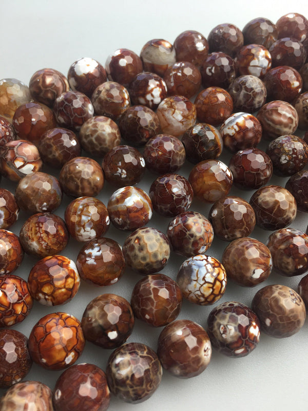 fire agate faceted round beads