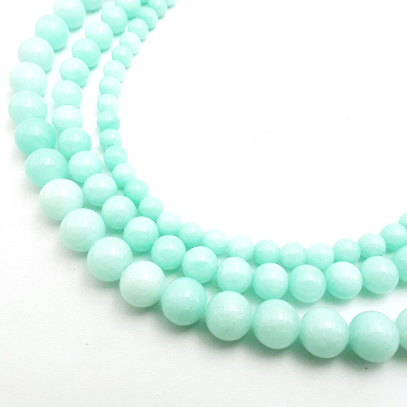 aqua blue green dyed jade smooth round beads