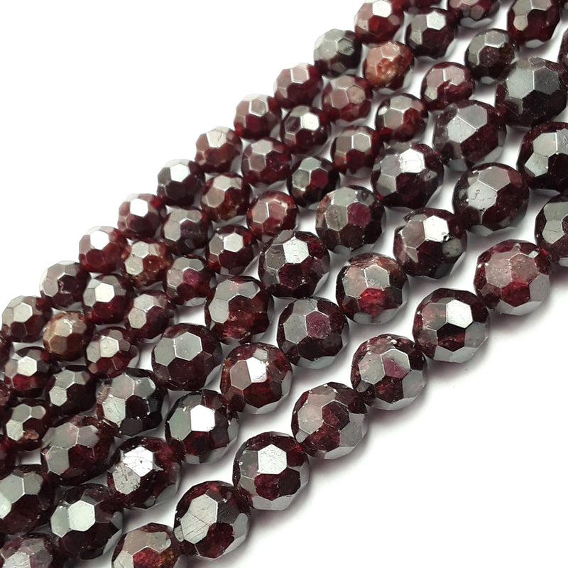 natural garnet big faceted round beads