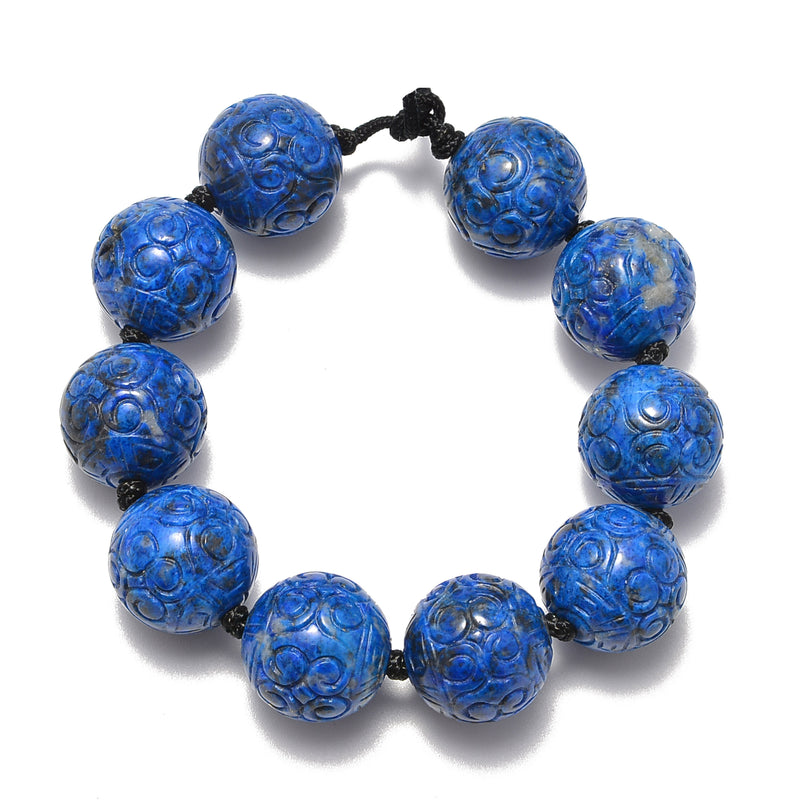 2.0mm Hole Natural Lapis Lazuli Carved Round Beads Size 18mm 8'' Strand
