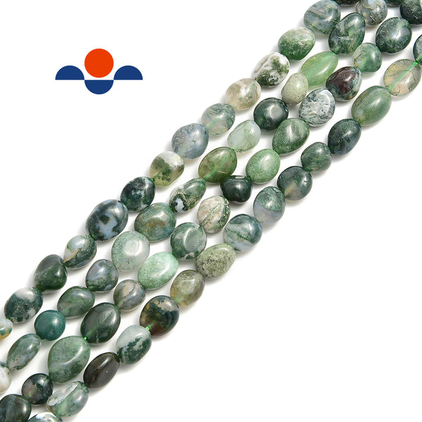 "Moss Agate Smooth Pebble Nugget Beads Size Approx 6-8mm 15.5"" Strand"