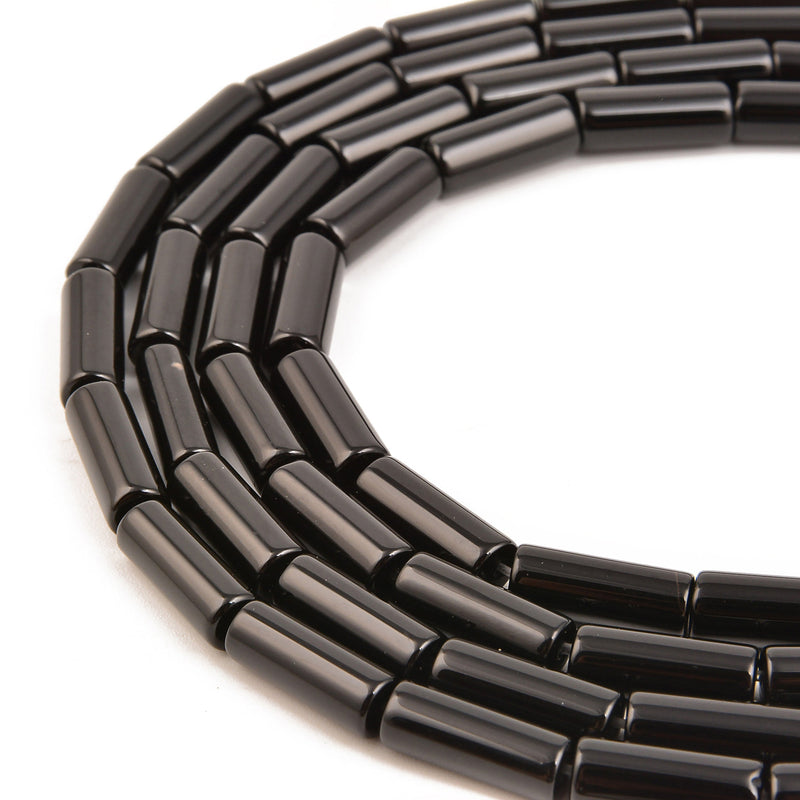 "Black Onyx Round Tube Beads 4x13mm 15.5"" Strand"