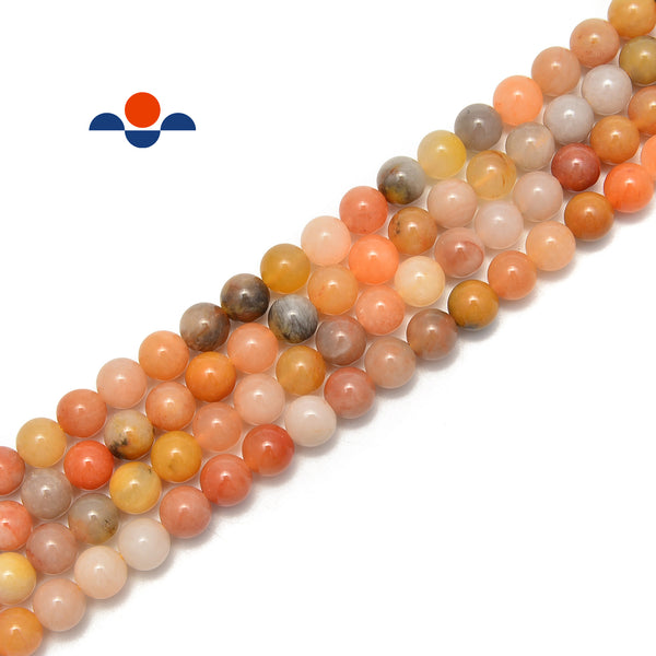 "Natural Multi-Orange Jade Smooth Round Beads Size 4mm 6mm 8mm 10mm 15.5"" Strand"