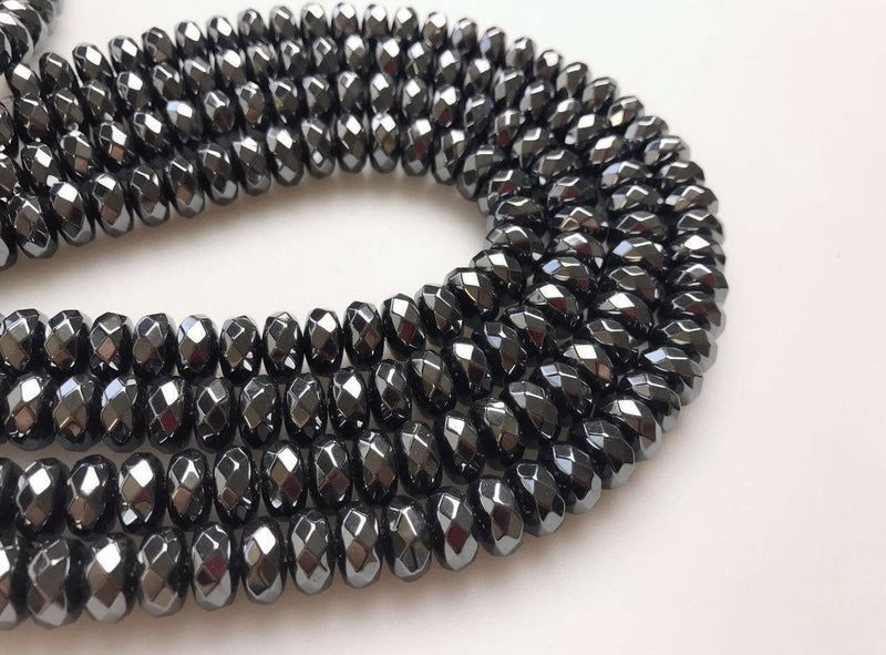 natural hematite faceted rondelle beads