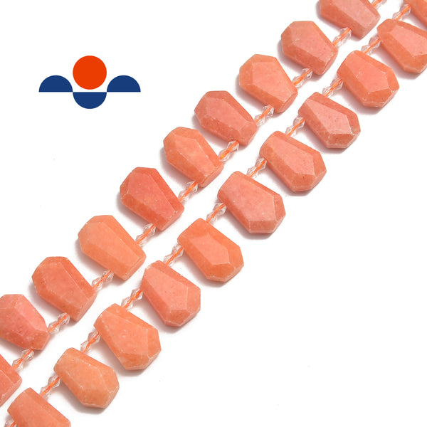 peach calcite faceted trapezoid shape beads