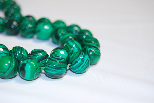 synthetic malachite faceted round beads