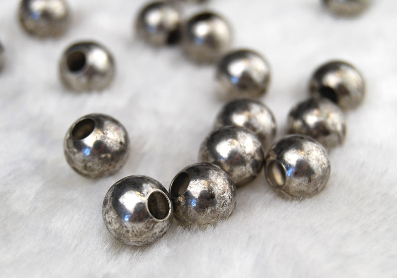 4.0mm Hole Antique Silver Plated Base Bronze Beads 10mm 20pcs
