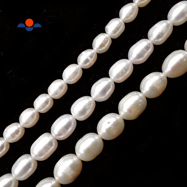 "Fresh Water Pearl White Oval Rice Beads 6x8mm 7x9mm 8x10mm 15.5"" Strand"