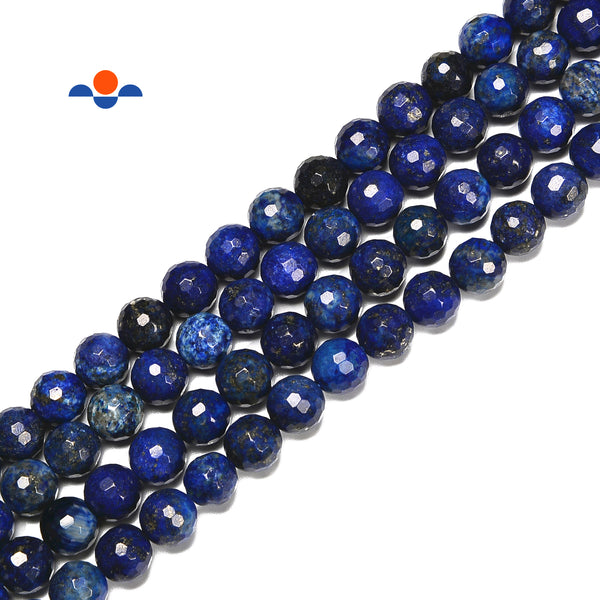 Lapis Lazuli Hard Cut Faceted Round Beads Size 6mm 8mm 10mm 15.5'' Strand