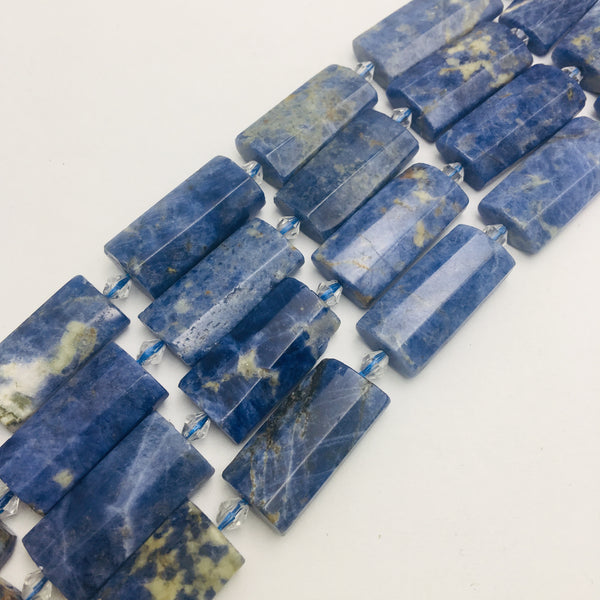sodalite faceted flat rectangle cylinder tube beads