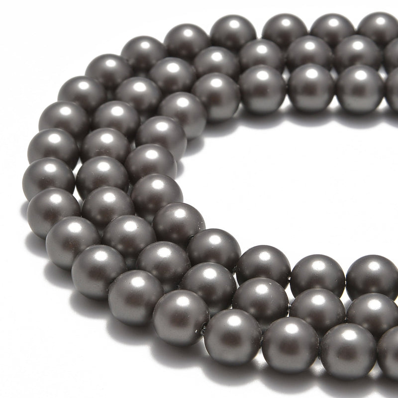 gray shell pearl matte round beads