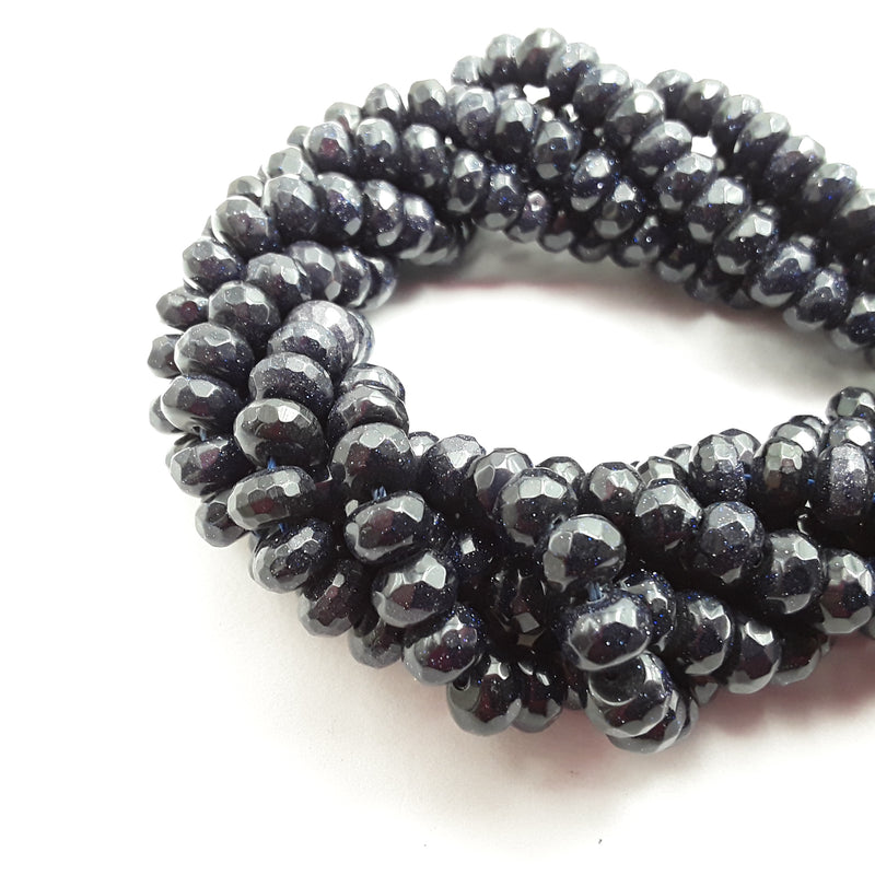 blue sandstone faceted rondelle beads
