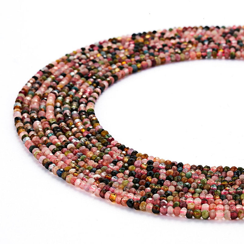multi color tourmaline faceted rondelle beads