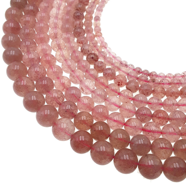 red strawberry quartz smooth round beads