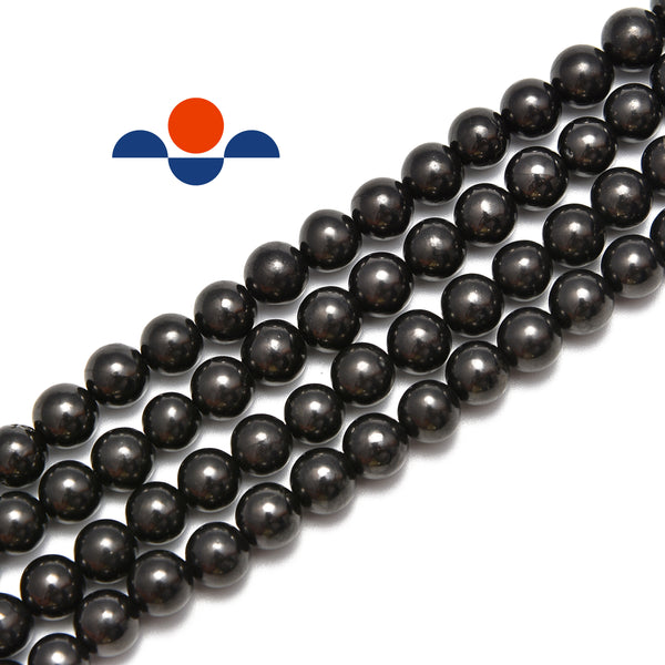 natural shungite smooth round beads