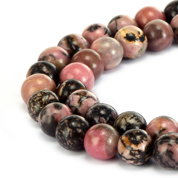 rhodonite smooth round beads