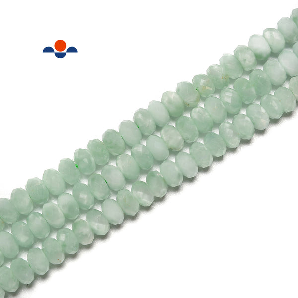 "Green Moonstone Hard Cut Faceted Rondelle Beads Size 4x6mm 5x8mm 15.5"" Strand"